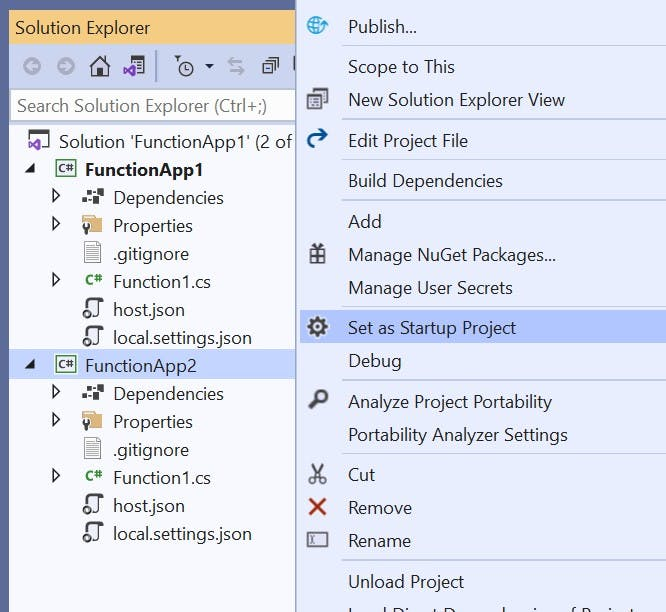 Selecting start up project in Visual Studio