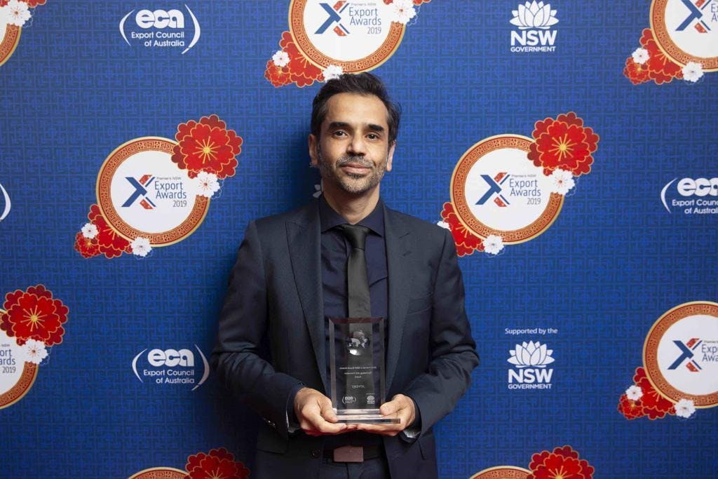 HIVERY COO Franki Chamaki at Export Awards 2019, where HIVERY won Export Council of Australia's Technology and Innovation Award