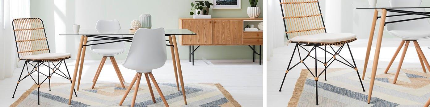 Esstisch mit Esszimmerstühlen stehend auf rechteckigem Teppich
