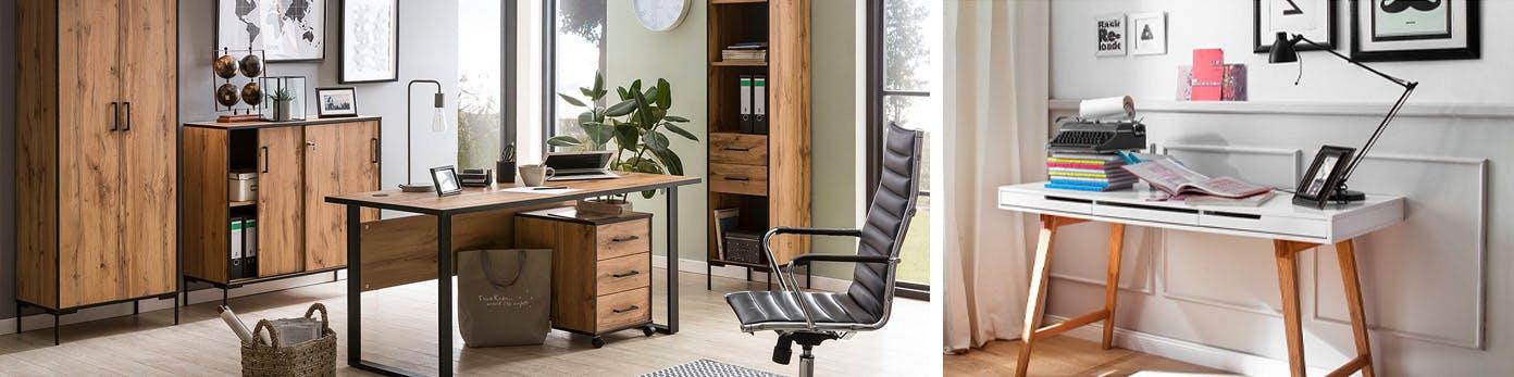 Ideen für Arbeitsplätze mit Regalen und Schränken aus Holz, schwarzem Bürostuhl und weißem, schmalen Arbeitstisch mit schwenkbarer Schreibtischleuchte