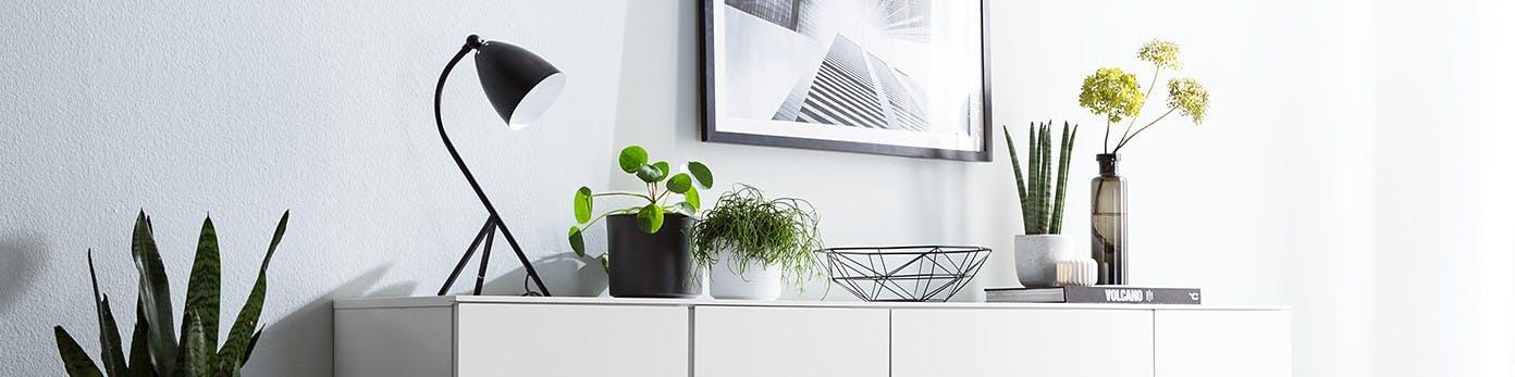 Weißes Sideboard mit Pflanzen in verschiedenen Töpfen und Vasen mit schwarzer Tischlampe, Schale und Dekor arrangiert vor weißer Wand mit gerahmten Bild