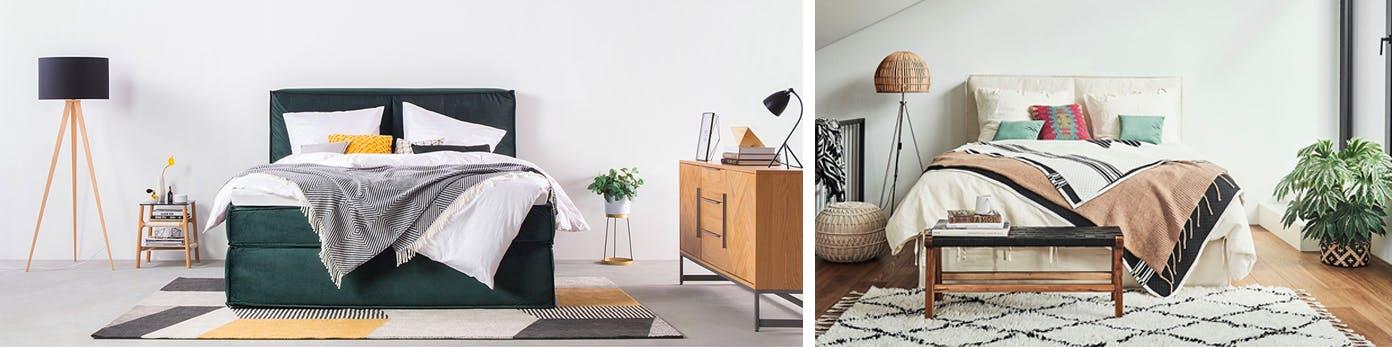 Doppelbetten mit kuscheligen Teppichen am Fußende