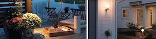Atmosphärische Beleuchtung auf der Terrasse durch Teelichter auf Tablett sowie Außenwandleuchte und Außenstehleuchte im Vorgarten
