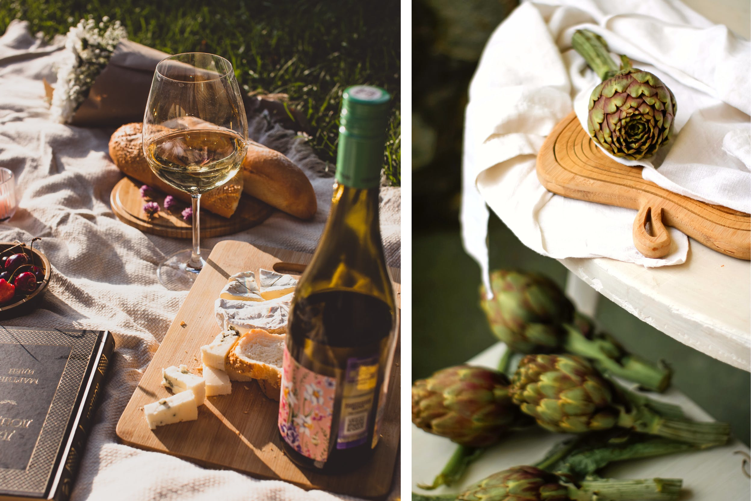 Picknickdecke mit Wein und selbst zubereiteten Happen aus beispielsweise Artischocken