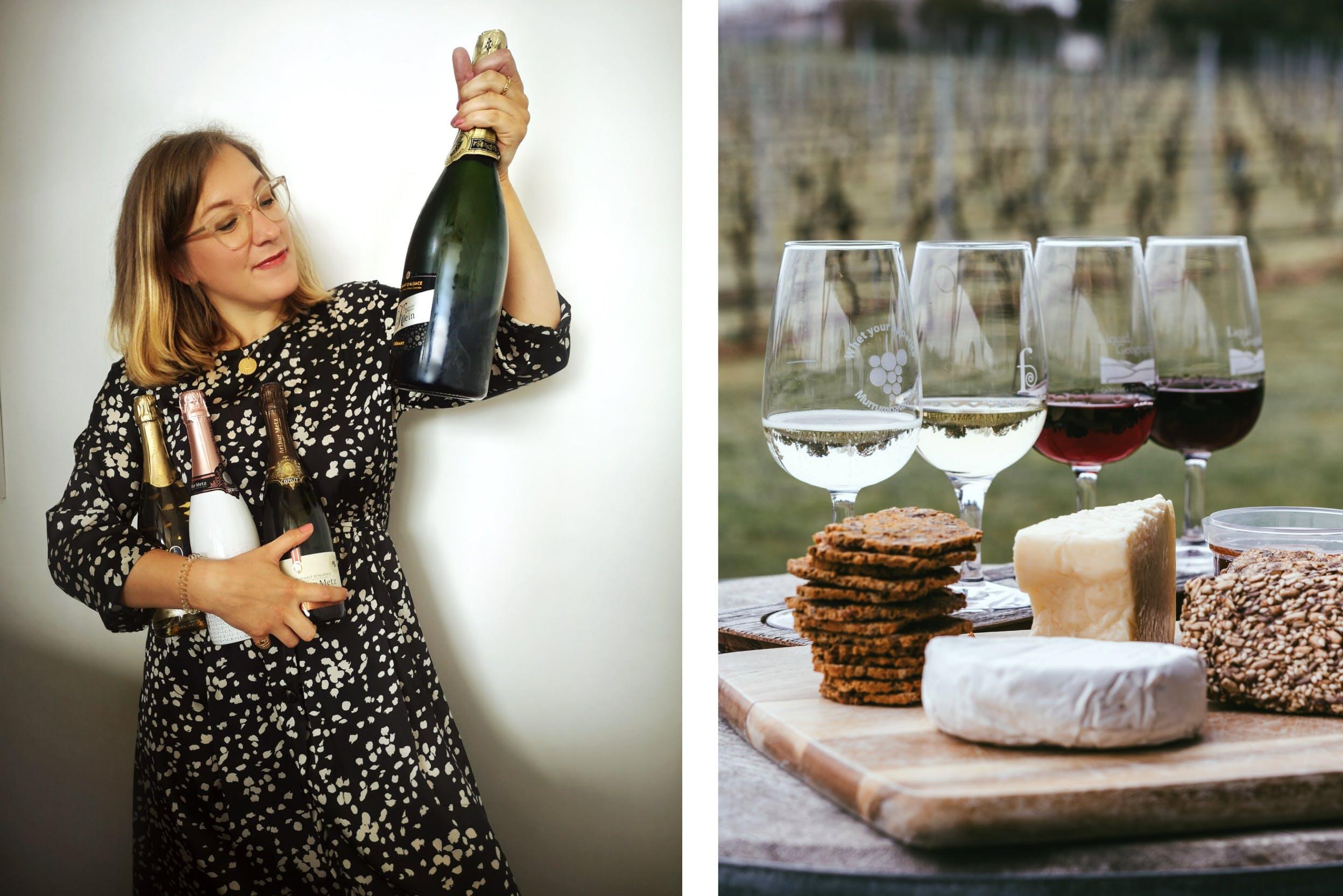Marjorie mit einer Sammlung an Crémants und Auswahl an verschiedenen Weinen mit Brot, Käse und kleinen Häppchen