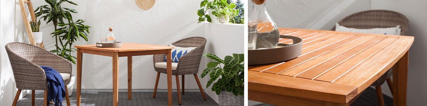 Wetterfester Outdoortisch aus Hartholz mit Balkonmöbeln aus Polyrattan