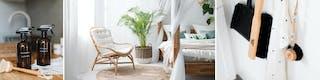 Rattansessel neben Bett aus Holz vor weißen Gardinen sowie Putzmittel und Utensilien, um in deinem Zuhause eine frische Ordnung und saubere Umgebung zu schaffen