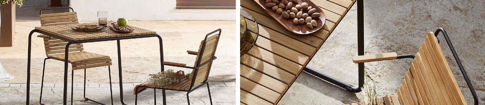 Gartenmöbel aus Holz mit Metallgestell