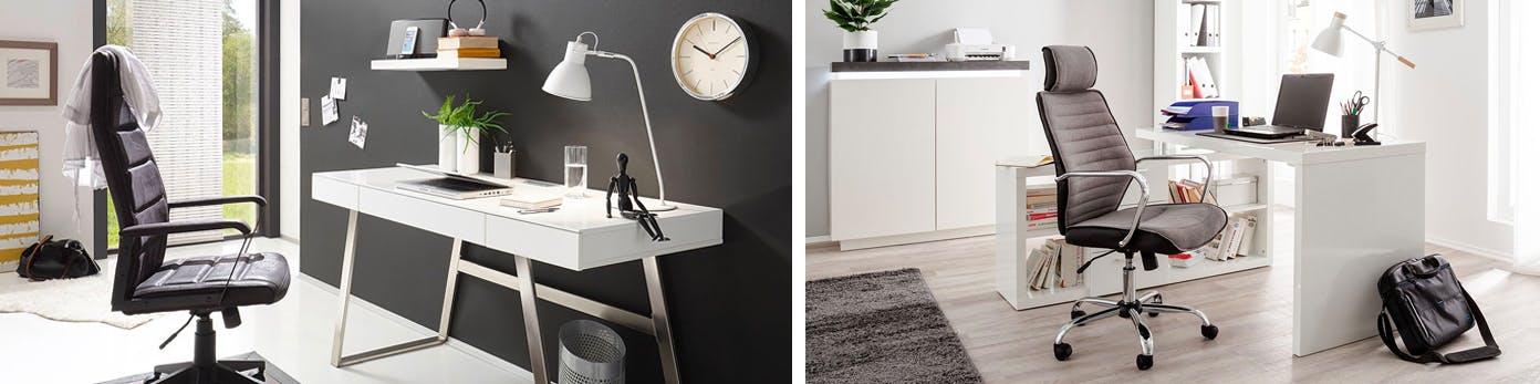 Ergonomisch verstellbare Bürostühle an weißen Schreibtischen stehend