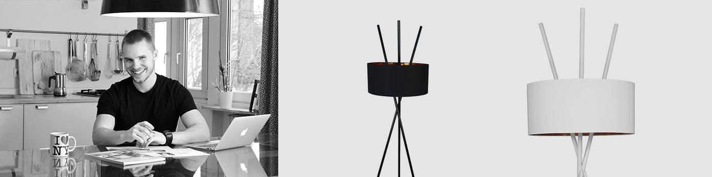 Portrait in Schwarzweiß von Andreas Sohns sowie seine bekannte Stehlampe Aton