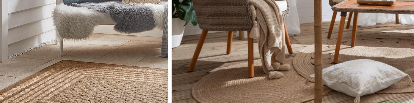 Praktische Teppiche aus Kunstfasern auf dem Balkonboden draußen liegend mit Balkonmöbeln