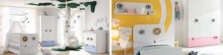 Kindgerecht eingerichtetes Zimmer mit Kinderbett und niedrig angebrachten Schubladen an Schränken sowie ausgewähltes Spielzeug