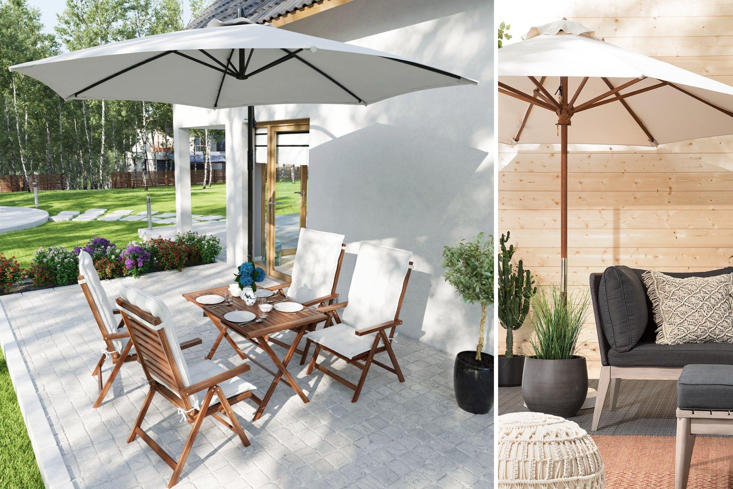 Klapptisch und klappbare Stühle für kleine Terrassen