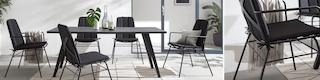 Schwarze Gartentisch aus Metall sowie passende Gartenstühle