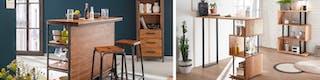 Hausbar mit geeigneten Barmöbeln aus Holz und Metall mit Spirituosen im Regal stehend