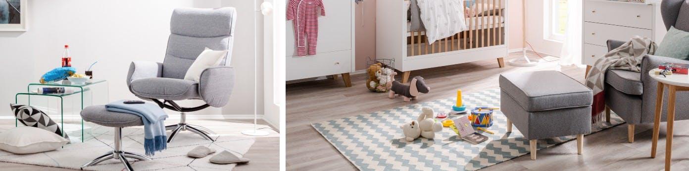 Graue Stillsessel in Kinderzimmer und Wohnzimmerecke