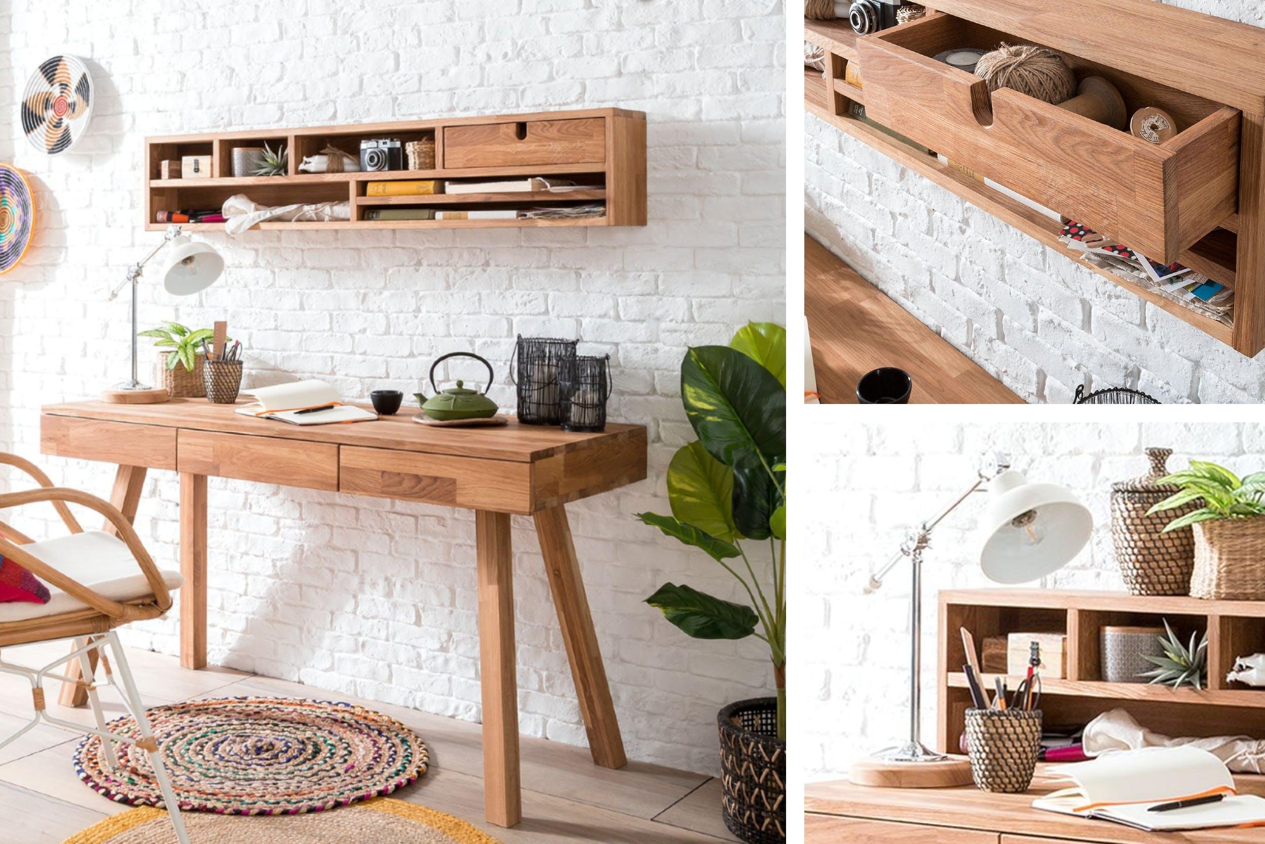 Clevere Aufbewahrung und Schubladen für Ordnung auf dem Schreibtisch aus Holz
