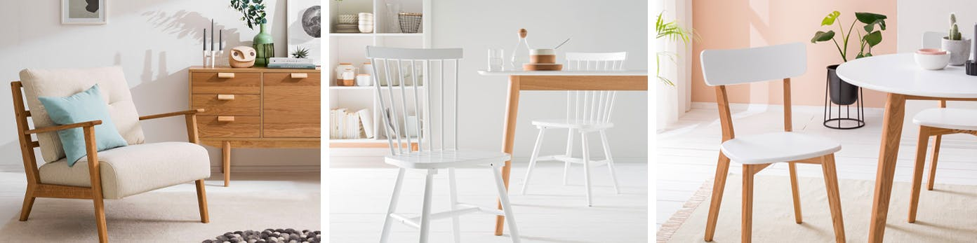 Funktionelle Sessel und Stühle im Skandi-Stil aus Holz
