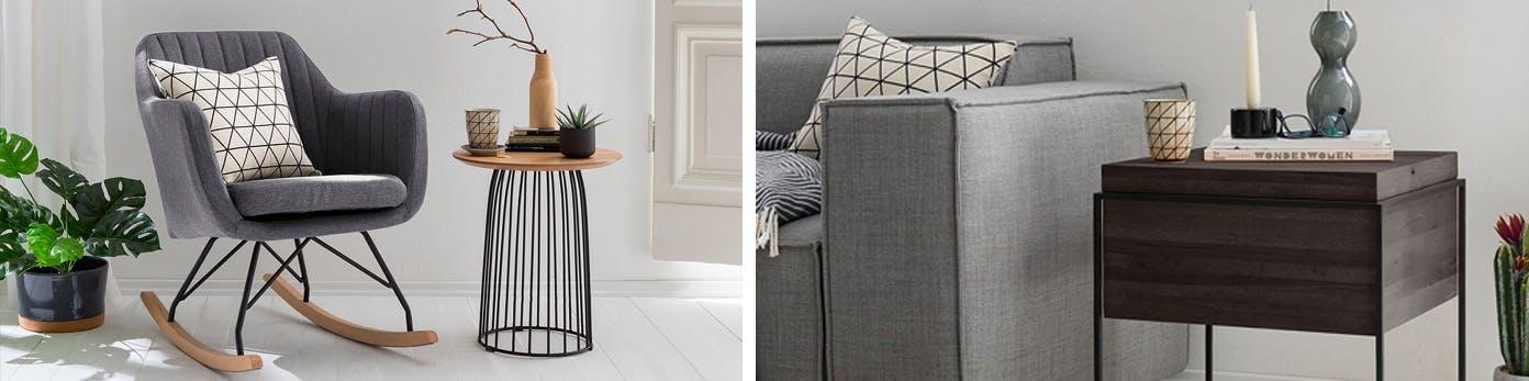 Graue Polstermöbel wirken einladend kombiniert mit natürlichen Materialien