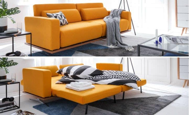 Gelbes Schlafsofa im modernen Skandinavian Style – home24