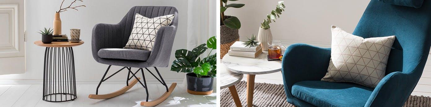 Gemütliche Leseecken mit Sessel und Kissen und praktischen Beistelltisch, auf dem Grünpflanzen, Tee und Bücher liegen