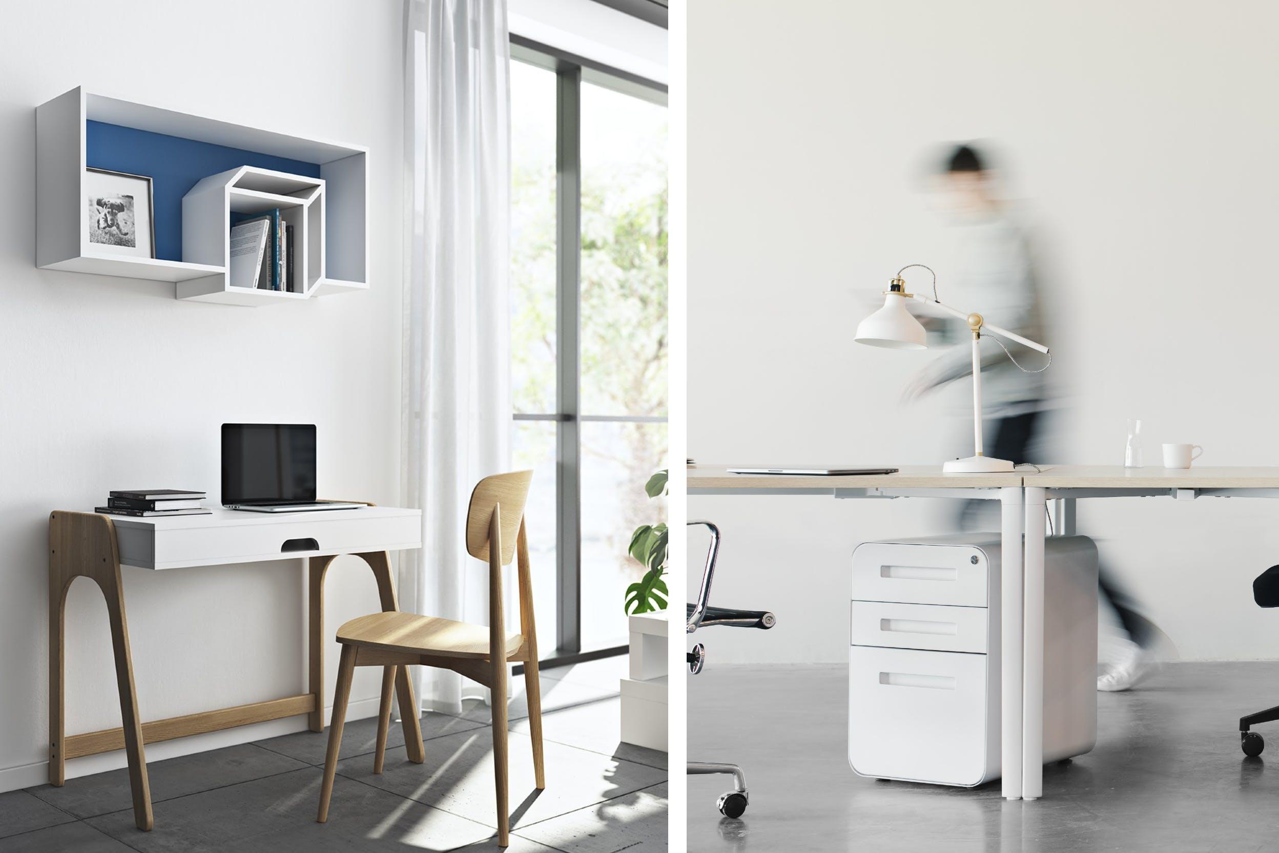 Arbeitsplatz im Home-Office aufgewertet durch hochwertige Materialien