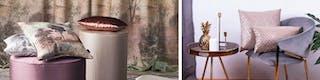 Liebevoll drapierte Kissen auf bezogenen Hockern und Samtstuhl vor bedrucktem Vorhang
