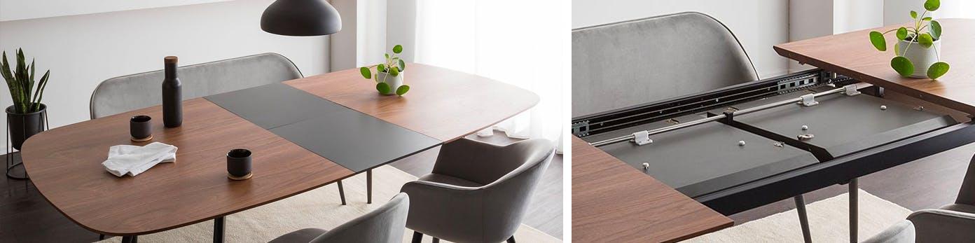 Ausziehbarer Esstisch mit Sesseln und Sitzbank
