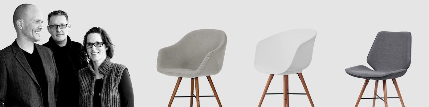 Portrait des dänischen Designertrios sowie Stühle in praktisch ansprechendem Design