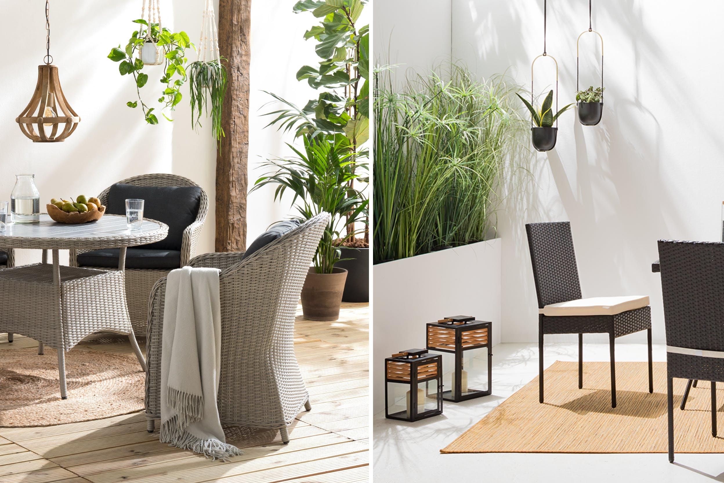 Terrassenmöbel und üppige Bepflanzung als grüner Sichtschutz