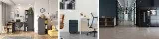 Moderne Büros und Arbeitsplätze unserer Zukunft mit intelligenter Lichttechnik, ergonomischen Bürostühlen und Tischen