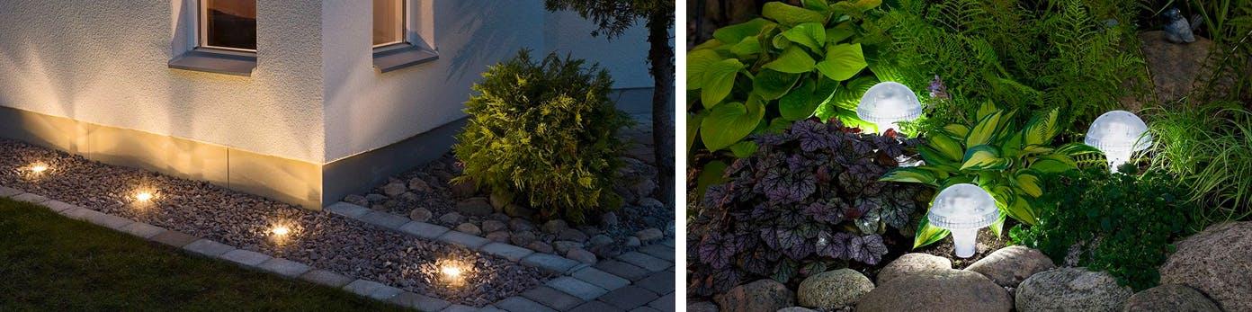 Außenbereich mit milden Bodenspots und LED-Lichtakzenten in Beeten