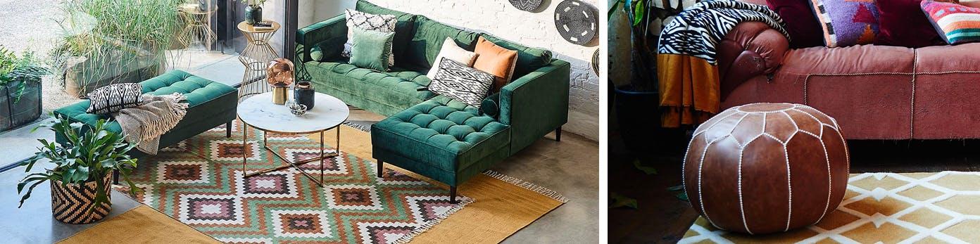 Langer Teppich in Rautenmuster passend zur grossen Sofalandschaft im Wohnzimmer