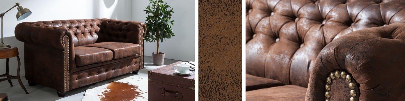 Sofa in Antiklederoptik aus braunem Miktrofaser mit gemustertem Teppich, Truhe als Beistelltisch und Pflanze in der Zimmerecke platziert