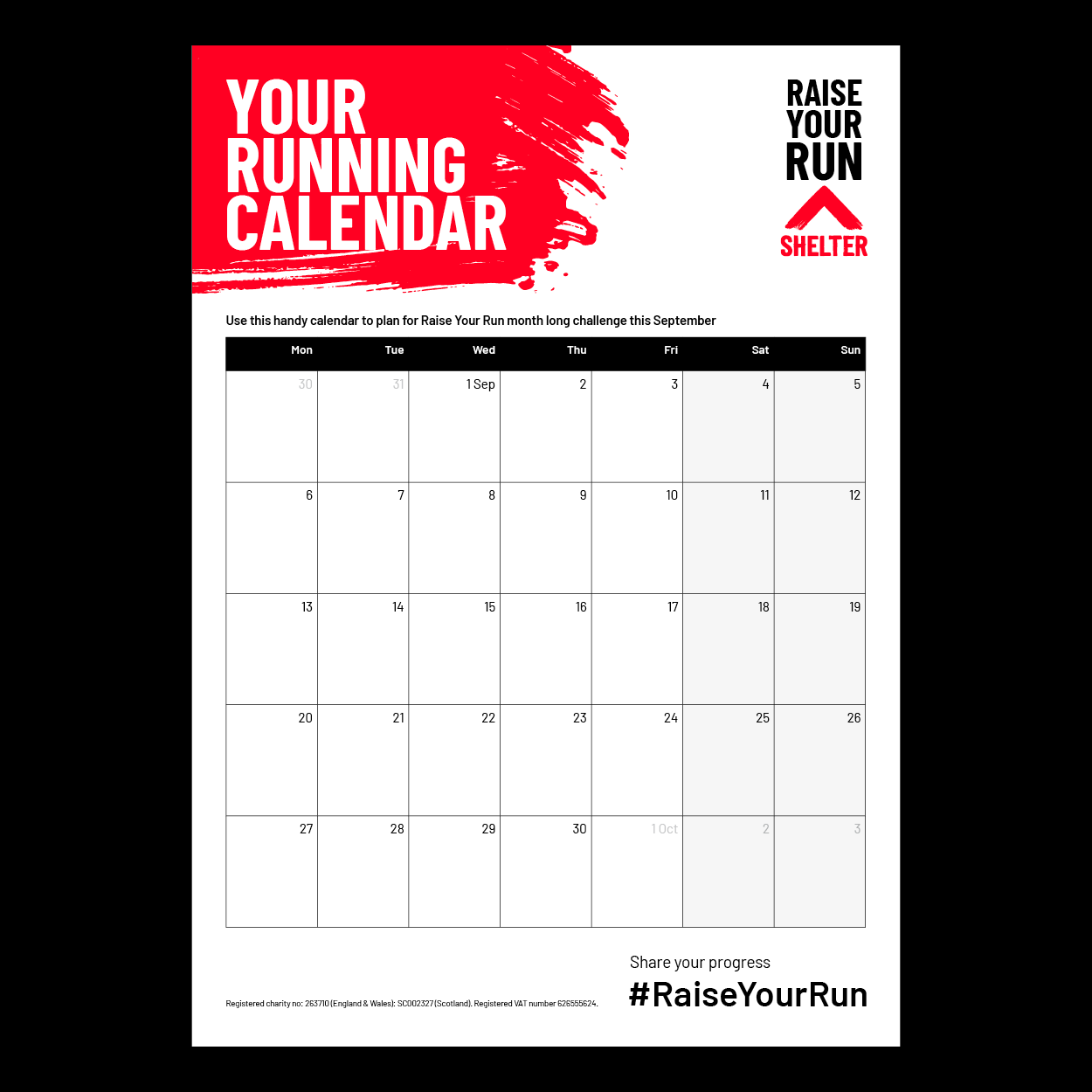 Preview image of the running calendar
