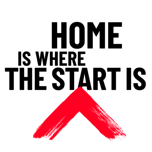 Home is where the start is strapline with Shelter logo