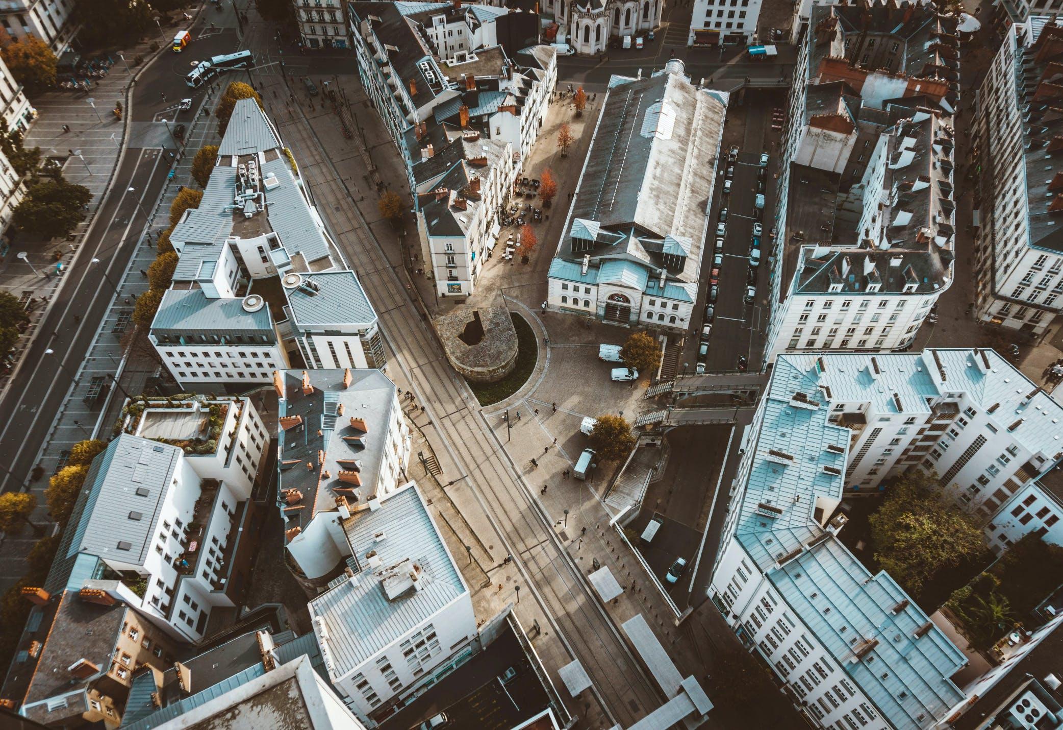 Image satellite bâtiments France