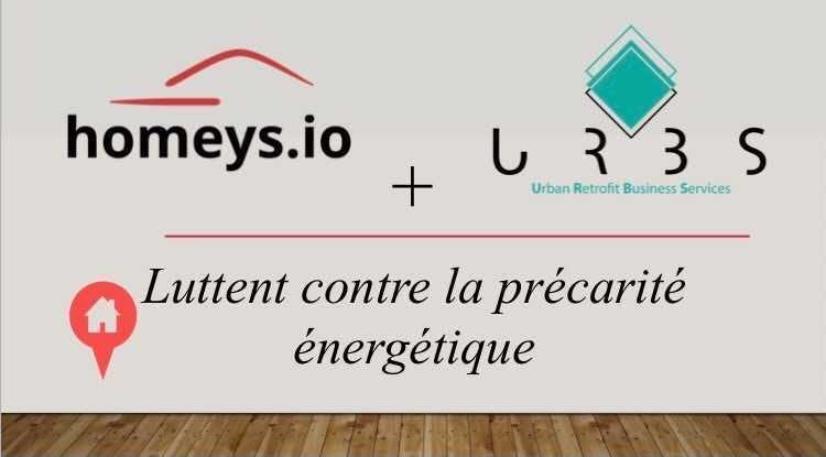 """panneau avec les logo Homeys et URBS et un message """"Homeys et URBS luttent contre la précarité énergétique"""""""
