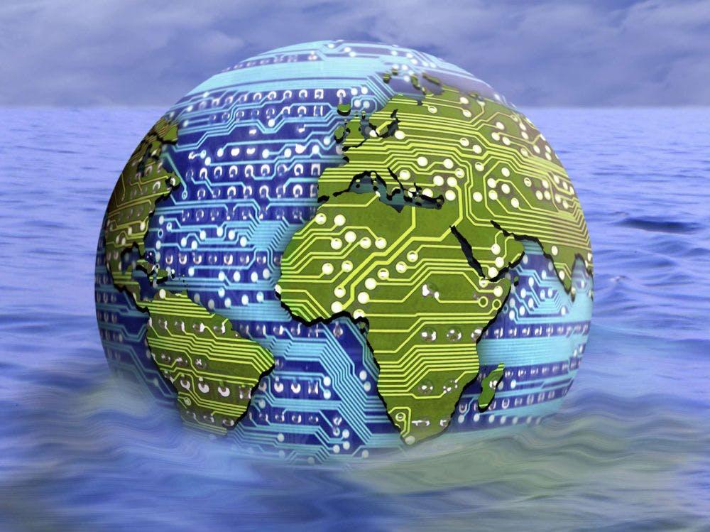 Planète terre carte puce eau