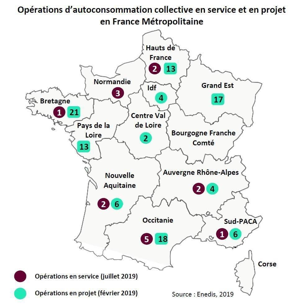 Opérations d'autoconsommation collective en service et en projet en France Métropolitaine (Source : Enedis, 2019)