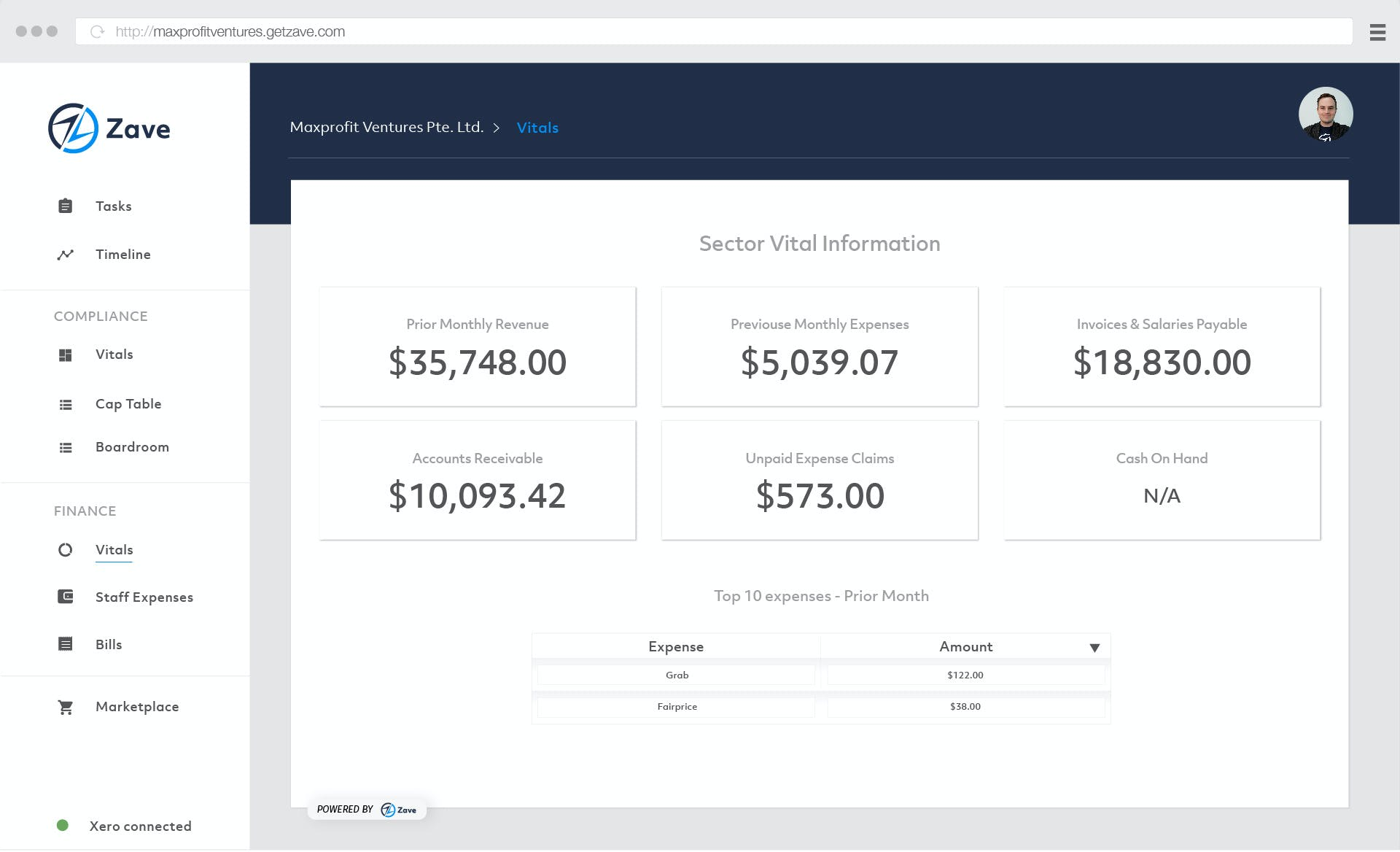 Zave website interface