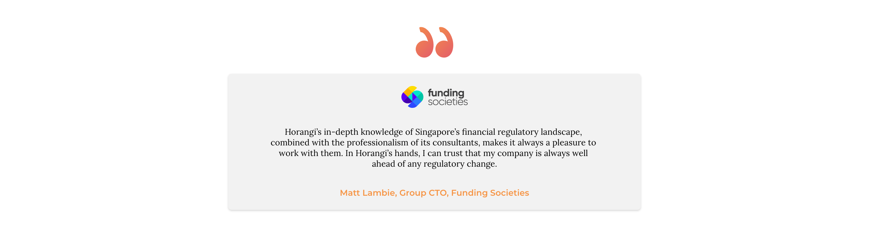 Funding societies testimonial card