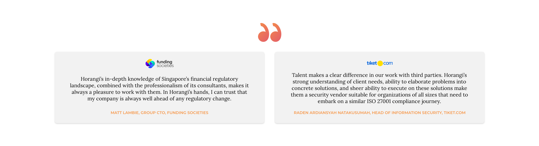Testimonials from funding societies and tiket.com
