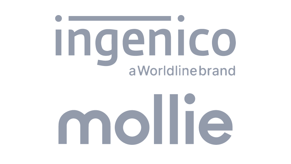 Gray tone logos of Ingenico and Mollie