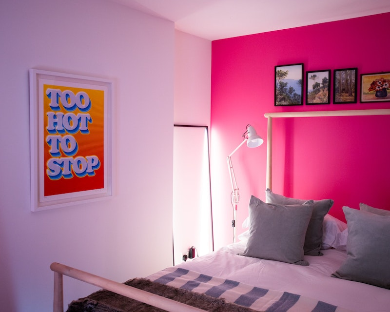 Bedroom with pop of colour