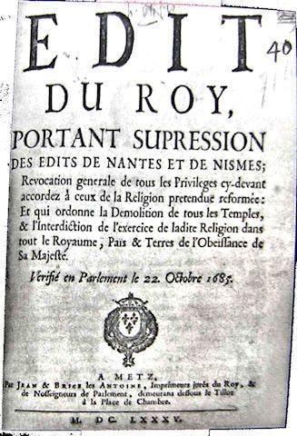 Edict of Nantes, 1685, Huguenots