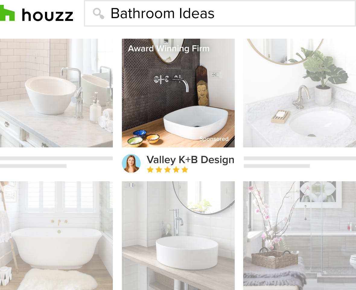kitchen and bathroom project photos appear to homeowners on the Houzz photo stream