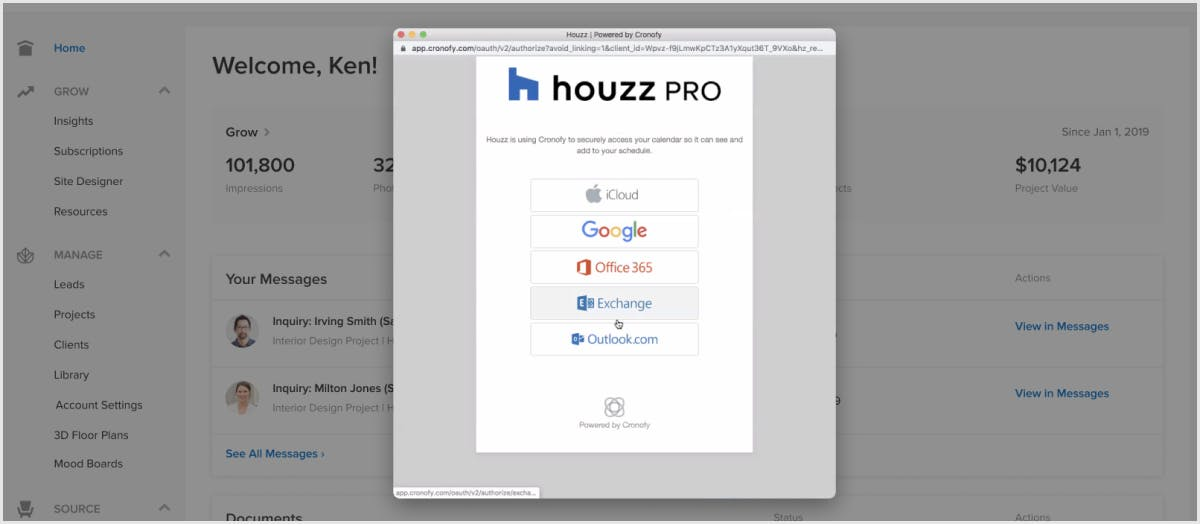 Connect your calendar on Houzz Pro, including Google Calendar.