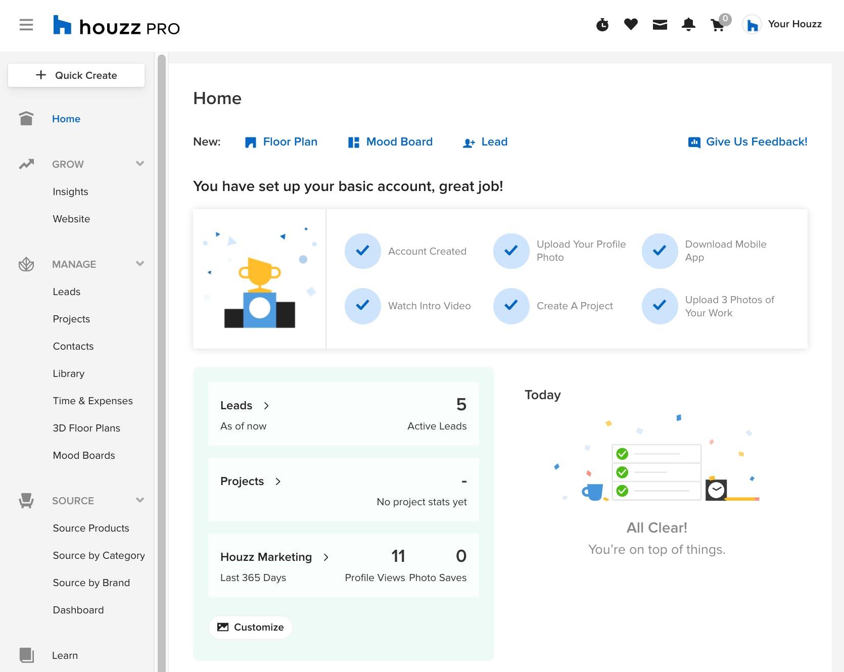 Houzz Pro homepage