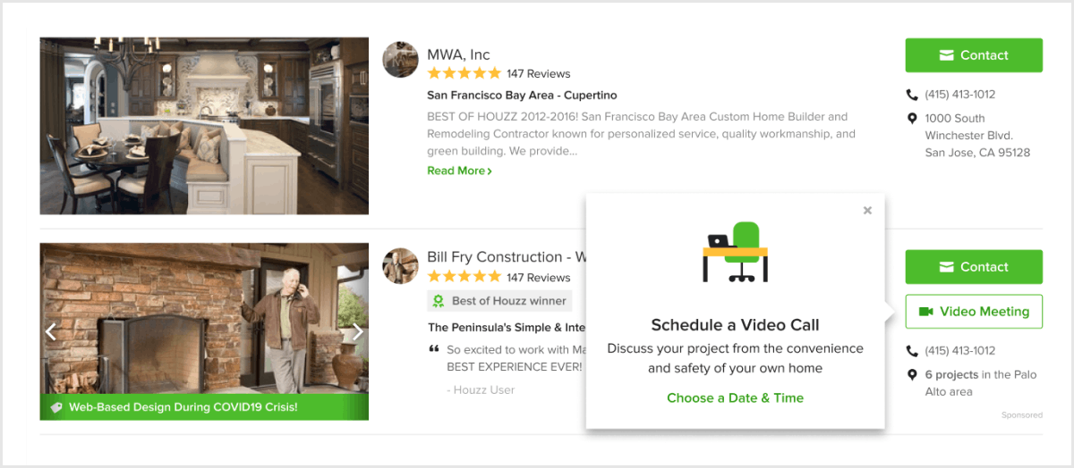 Homeowners can book video meetings with pros right from the Houzz Hire a Pro directory.
